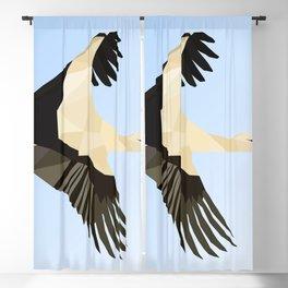WHITE STROKE BIRD LOW POLY ART Blackout Curtain