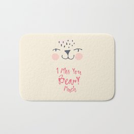I love You Beary Much, Love quote, Bear illustration, Cute art Bath Mat