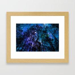 Black Trees Teal Purple Space Framed Art Print