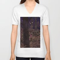 fireflies V-neck T-shirts featuring fireflies by Lara Paulussen