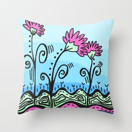 Three Spring Flowers - Blue Throw Pillow