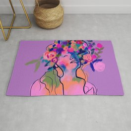 Lilac-Purple woman with floral crown Rug