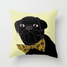 Jasper is in your Closet, Wearing your Leopard-Print Bow tie Throw Pillow