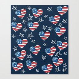 American Flag Heart Canvas Print