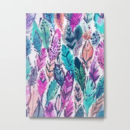 WILD FEATHERS Boho Watercolor Metal Print