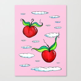 Flying Apple Hearts Canvas Print