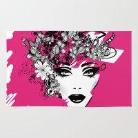 fashion illustration Area & Throw Rugs featuring fashion illustration by Irmak Akcadogan