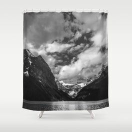 Lake Louise Black and White Minimalism Photography | Black and White | Photography Shower Curtain