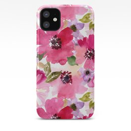 Watercolor Flowers Pink Fuchsia iPhone Case