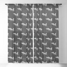 Twinjet Supersonic Aircraft Cartoon Sheer Curtain