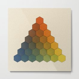 Lichtenberg-Mayer Colour Triangle (Opera inedita - Vol. I, plate III), 1775, Remake, vintage wash Metal Print
