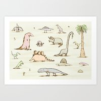 dinosaurs Art Prints featuring Dinosaurs by Sophie Corrigan