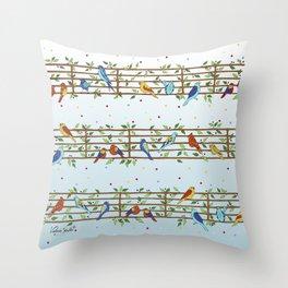 Singing Doodle Birds Throw Pillow