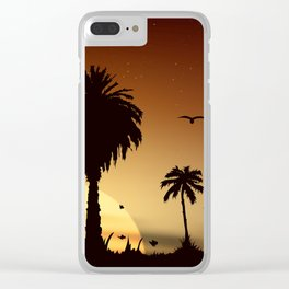 Sunsets and sunrises over the savanna with palm trees Clear iPhone Case