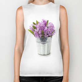 Beautiful Hyacinths in vase over white Biker Tank