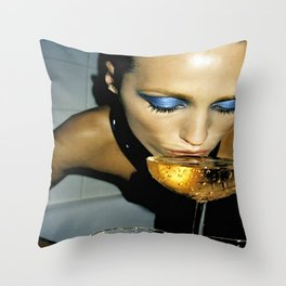 Champagne Slurp Throw Pillow