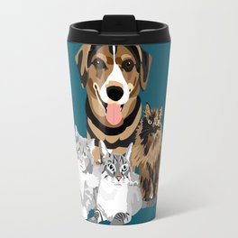 Alfred and Cats in Blue Travel Mug