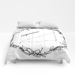 Floral Capricorn Constellation Comforters