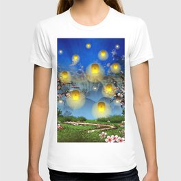 Yellow lanterns with cherry blossom and mountain temple T-shirt