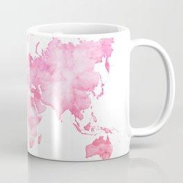 Pink watercolor world map Coffee Mug