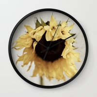 sunflower Wall Clocks featuring sunflower by Bonnie Jakobsen-Martin