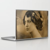 angelina jolie Laptop & iPad Skins featuring Angelina Jolie Vintage ReplaceFace by Maioriz Home