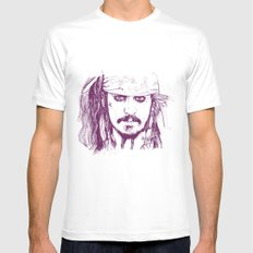 Captain Jack - Pirates of the Caribbean White MEDIUM Mens Fitted Tee