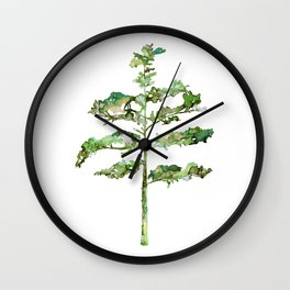 Pine Tree #3 in Green - Ink painting Wall Clock