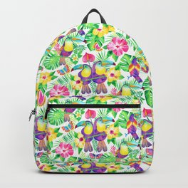 Tropical Toucans in Watercolor White Backpack