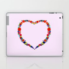 heart made of flowers on a pink background Laptop & iPad Skin