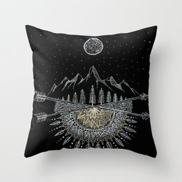 Moon and Stars Night Sky Mountain Range Arrow Mandala With Star Background Throw Pillow