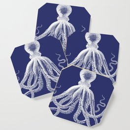 Octopus | Navy Blue and White Coaster