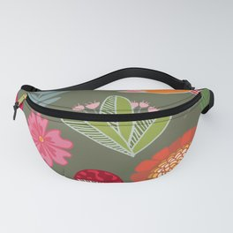 Flora & Fauna of The Great Outdoors In Green Fanny Pack