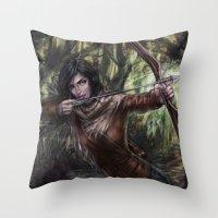 katniss Throw Pillows featuring Katniss by jasric