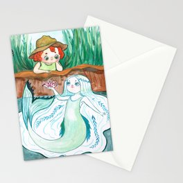 Boy and mermaid Stationery Cards
