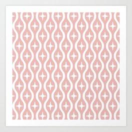 Mid century Modern Bulbous Star Pattern Dusty Rose Art Print