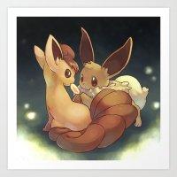 eevee Art Prints featuring Eevee and Vulpix by Yamilett Pimentel