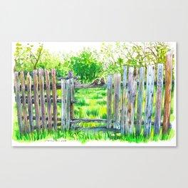 Birds on a fence Canvas Print