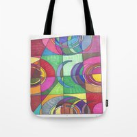 stained glass Tote Bags featuring Stained Glass by SaraLaMotheArt