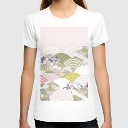 scales simple Nature background with japanese sakura flower, rosy pink Cherry, wave circle pattern T-shirt