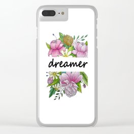 dreamer . flowers and the words . illustration Clear iPhone Case