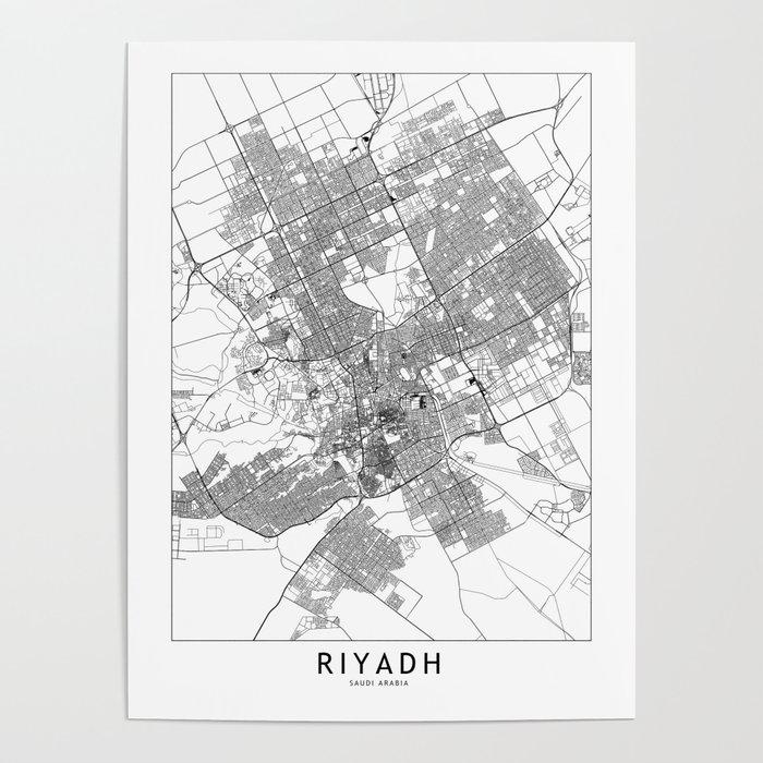 Riyadh White Map Poster