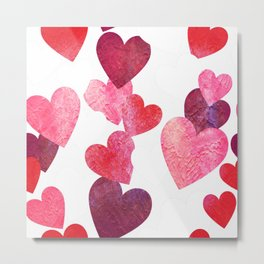 Pink Grungy Hearts Metal Print