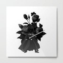 Darth Vader Floral Metal Print