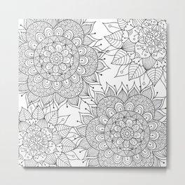 Hand painted black white floral mandala Metal Print
