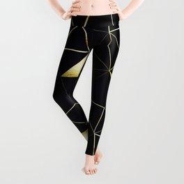 Gold Triangle Geometric Pattern on Black Suede Leggings