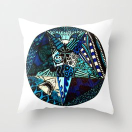 Blue Toned Pentagram Throw Pillow