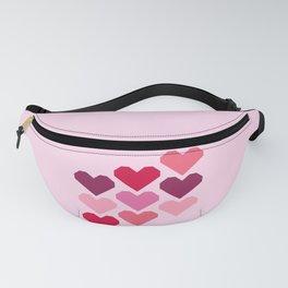 Pink geometric hearts art work Fanny Pack