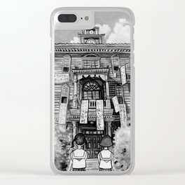 Poppy Hill (black and white) Clear iPhone Case