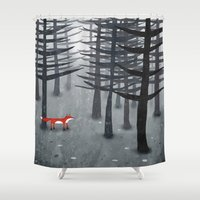gray Shower Curtains featuring The Fox and the Forest by Nic Squirrell